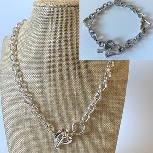 Jewelry - Set of 2 - Silver Heart Chain Necklace/Bracelet